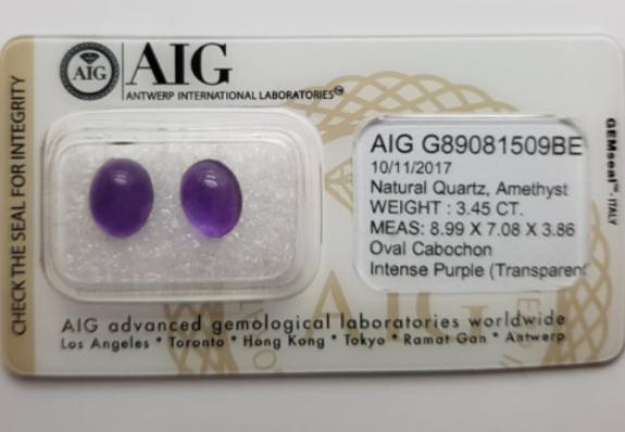 2018 3.45 karat Amethyst par Oval - Namsos - 1 par ovale amethyst i intens lilla farge. Størrelsen er på 3,45 karat og disse 2 kan man f.eks bruke til øreringer! Eller rett og slett samle på dem. Disse er testet av AIG i Belgia og har følgende rapport nr: Aig G89081509BE. Amethyst er a - Namsos