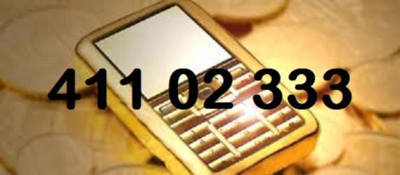 Gullnummer 411 02 333 - Drammen - Gullnummer 411 02 333. Ligger i dag som kontantkort. Kan overflyttes til ny eier på dagen, og til hvilken som helst annen teleoperatør/ abonnement. Lykke til med budgivningen - Drammen