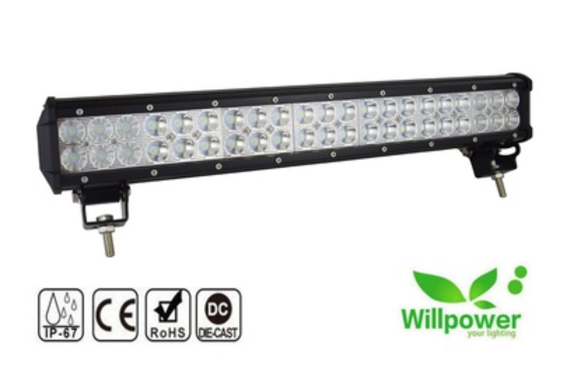 NY LED bjelke på hele 128W - IP67 Vann og støtsikker 2018 - Skogn - Beskrivelse: - 126W (42 stk LED dioder x 3W) 12600 lumen 100% splitter ny 20 toms LED bar av god kvalitet; - High Power 3W LEDchips, - Vanntett IP67, støtbestandig, Vannbestandig, Støvsikker, Rustsikker; - Passer til flere; (Off-road biler, SUV, - Skogn