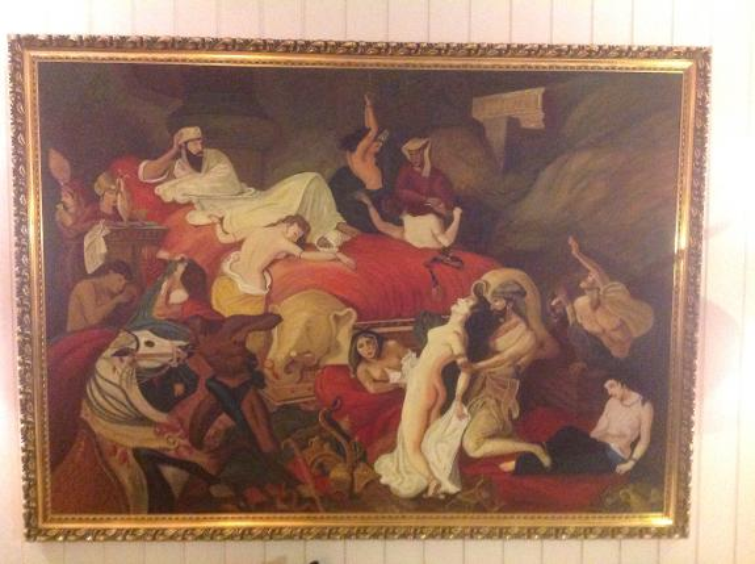 Maleri, Delacroix 1827, The Death of Saranapalus - Sandefjord - Maleri , Delacroix 1827 180 cm x 130cm , (malt av avdøde K.Nic.Johnsen) The Death of Saranapalus - Sandefjord